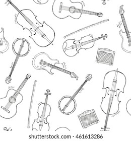Hand drawn sketch illustration seamless pattern background of stringed instruments and electronic amplifier lettering violoncello, violin, guitar, electric guitar, banjo isolated on white
