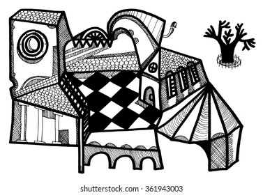 The hand drawn sketched illustration of a surreal cubistic house with a little courtyard and a lonely tree made with the ink pen