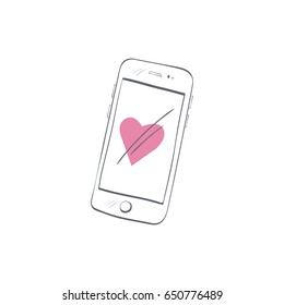Hand drawn smart phone with simple doodle heart isolated on white background