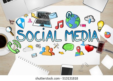 Hand drawn social media presentation with icons on office background 3D rendering