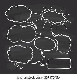 Hand drawn speech bubble doodle on chalkboard background