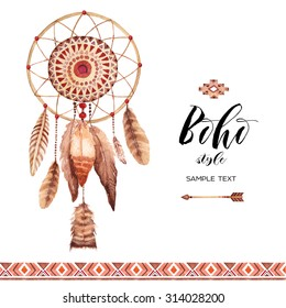 Hand drawn style dreamcatcher. Tribal design invitation card template. Watercolor. Boho.