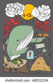 Hand drawn stylized ant and whale set. Flat style illustration. Child theme. Heart. Lettering. (Can be used as texture for cards, invitations, DIY projects, web sites or for any other design)