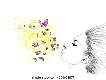 Hand drawn stylized pacified blowing girl with geometric elements and butterflies.