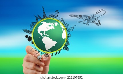 hand drawn traveling around the world by air plane on nature background