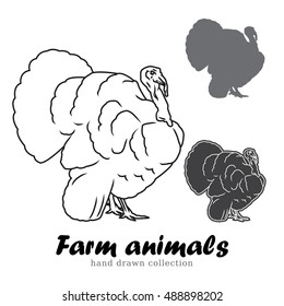 Hand drawn turkey silhouette. Farm animals illustration. Line art meat logo vintage.