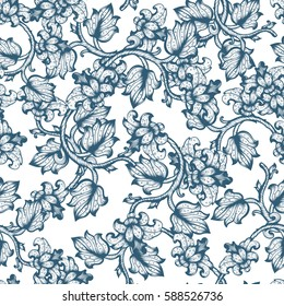 Hand Drawn Vintage Floral Seamless Ornate Pattern