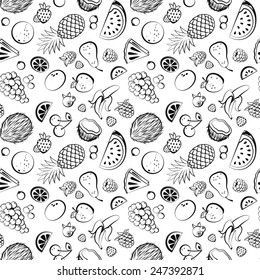 Hand drawn vintage fruit seamless for your business