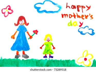Hand Drawn water color painting for Mother's Day