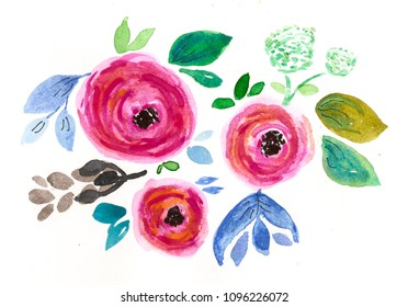 hand drawn watercolor abstract flowers