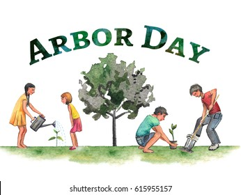 Hand drawn watercolor Arbor Day Card