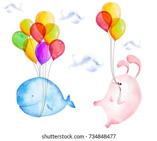 Hand drawn watercolor blue whale and hare flying on air balloons. Artistic print design isolated on white background