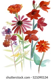 Hand drawn watercolor bouquet in colorful bright colors.
