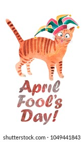 Hand drawn watercolor card to april fools day with funny cat