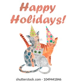 Hand drawn watercolor card with funny cat