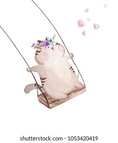 Hand drawn watercolor cat on the swing