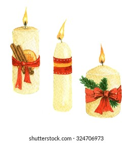 hand drawn watercolor Christmas candles