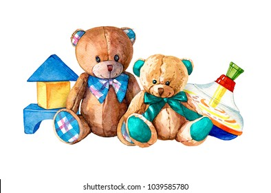 hand drawn watercolor composition of children's toys