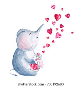 Hand drawn watercolor elephant holding glass jar with hearts