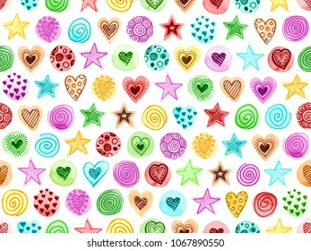 Hand drawn watercolor and fine liner doodles of hearts, stars and spirals make up this pattern background. The whole image is a pattern tile and can be repeated seamlessly.