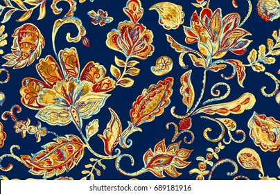 Hand drawn watercolor floral flower seamless pattern (tiling). Colorful seamless pattern with grunge beige gold abstract whimsical tulips, paisley, leaves on dark navy blue background for print design