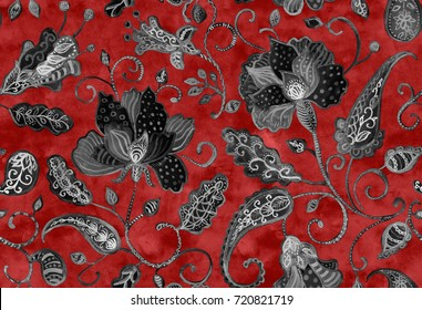 Hand drawn watercolor floral flower seamless pattern tiling. Colorful seamless pattern with black abstract whimsical tulips, paisley, buta, orchid, lotus, lily and leaves on red background.