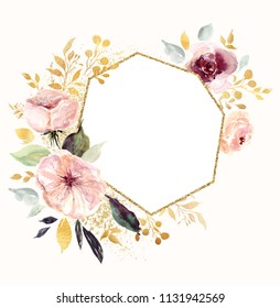 Hand drawn watercolor floral frame with roses and branches