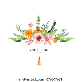 Hand Drawn watercolor flowers. Ethnic style. Pre made logo