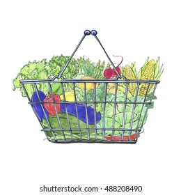 hand drawn watercolor food baskets with vegetables on white background