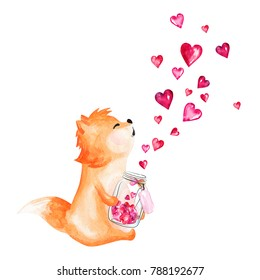 Hand drawn watercolor fox holding glass jar with hearts