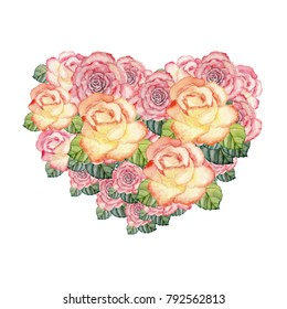Hand drawn watercolor heart made from roses. Illustration for Valentine day.