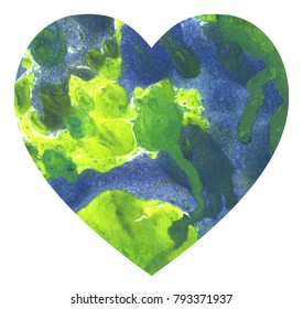Hand drawn watercolor heart texture love mixed oil