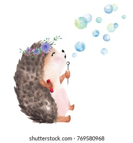 Hand drawn watercolor hedgehod blowing bubbles