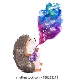 Hand drawn watercolor hedgehog holding  galaxy glass jar
