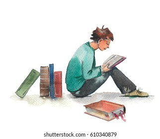Hand drawn watercolor illustration of books and reading boy