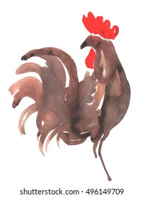 Hand drawn watercolor illustration Rooster on white background
