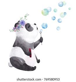 Hand drawn watercolor panda blowing bubbles