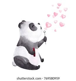 Hand drawn watercolor panda blowing heart shaped bubbles