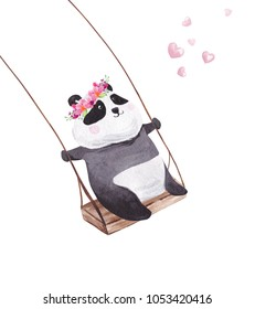 Hand drawn watercolor panda on the swing