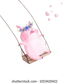 Hand drawn watercolor pig on the swing