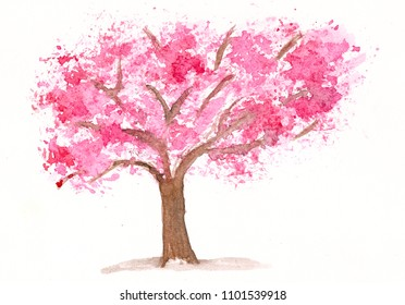 hand drawn watercolor pink tree