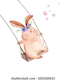 Hand drawn watercolor rabbit on the swing