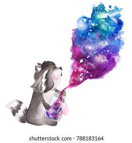Hand drawn watercolor raccoon holding  galaxy glass jar