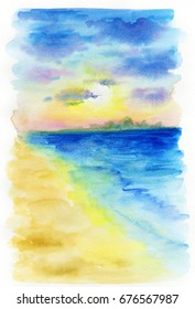 Hand drawn watercolor Sea background. Landscape of pink sunrise, sunset on the sea. Watercolor illustration of a sunset