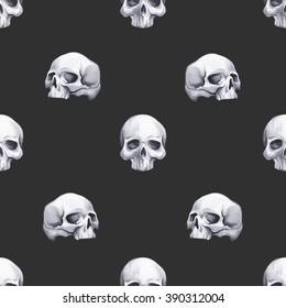 Hand drawn watercolor seamless pattern with skulls in different poses. Wrapping paper. Scrapbook paper. Background