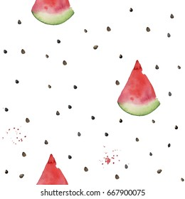 Hand drawn watercolor seamless pattern with watermelon slices.