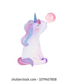Hand drawn watercolor unicorn blowing bubble gum