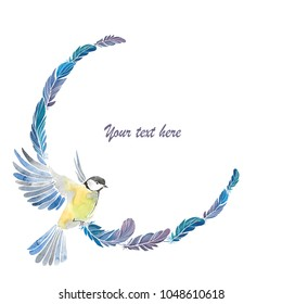 Hand drawn watercolor Vignette with bird and feathers. Isolated on white.