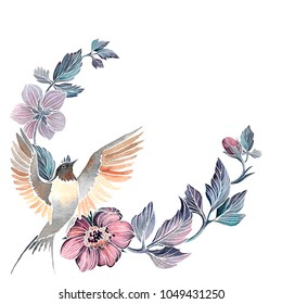 Hand drawn watercolor Vignette with bird and flowers. Isolated on white.