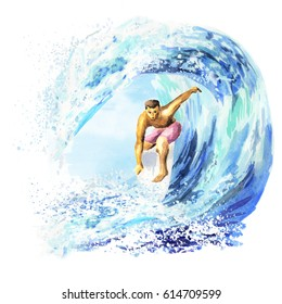 Hand drawn watercolor young surfer on a board catching a wave